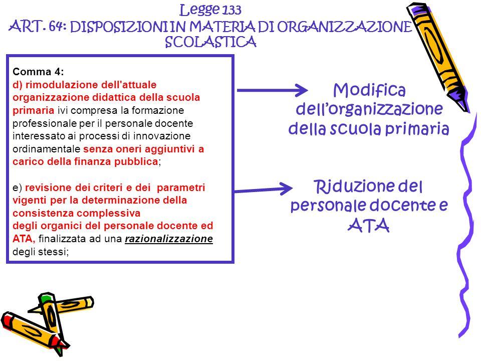 Legge 133 ART. 64: DISPOSIZIONI IN MATERIA DI ORGANIZZAZIONE SCOLASTICA Modifica dellorganizzazione della scuola primaria Riduzione del personale doce