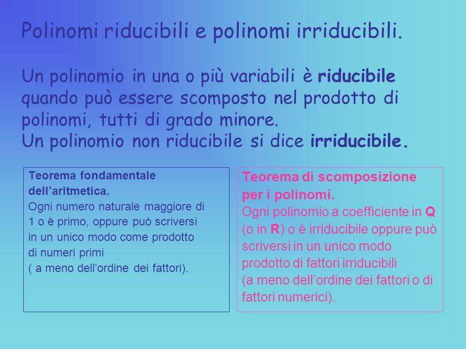 Polinomi riducibili e polinomi irriducibili.