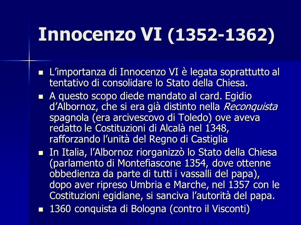 Il primo ritorno del papato a Roma Il successore di Innocenzo VI, Urbano V, era anzitutto preoccupato per lavanzata dei Turchi (che avevano occupato Gallipoli, nel 1356) Il successore di Innocenzo VI, Urbano V, era anzitutto preoccupato per lavanzata dei Turchi (che avevano occupato Gallipoli, nel 1356) 1367 decise di ritornare a Roma 1367 decise di ritornare a Roma Ma poi tornò ad Avignone per contribuire alla pace tra Francia e Inghilterra (inizio della Guerra dei Centanni) Ma poi tornò ad Avignone per contribuire alla pace tra Francia e Inghilterra (inizio della Guerra dei Centanni) Muore nel 1370 ad Avignone Muore nel 1370 ad Avignone