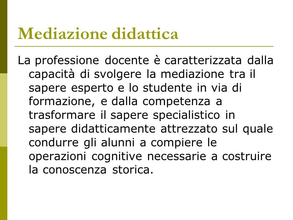 Mediazione didattica La professione docente è caratterizzata dalla capacità di svolgere la mediazione tra il sapere esperto e lo studente in via di fo
