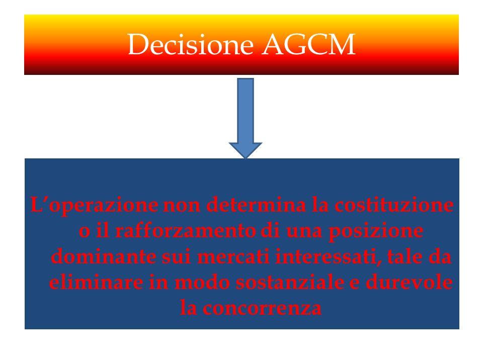Decisione AGCM Loperazione non determina la costituzione o il rafforzamento di una posizione dominante sui mercati interessati, tale da eliminare in m