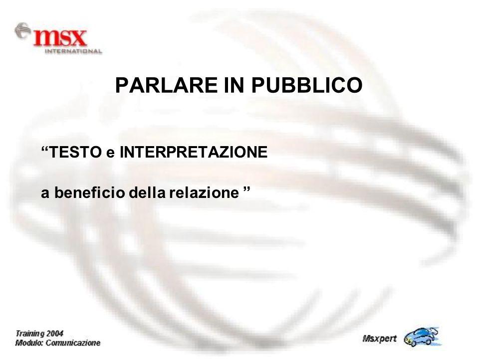 TESTO e INTERPRETAZIONE a beneficio della relazione PARLARE IN PUBBLICO