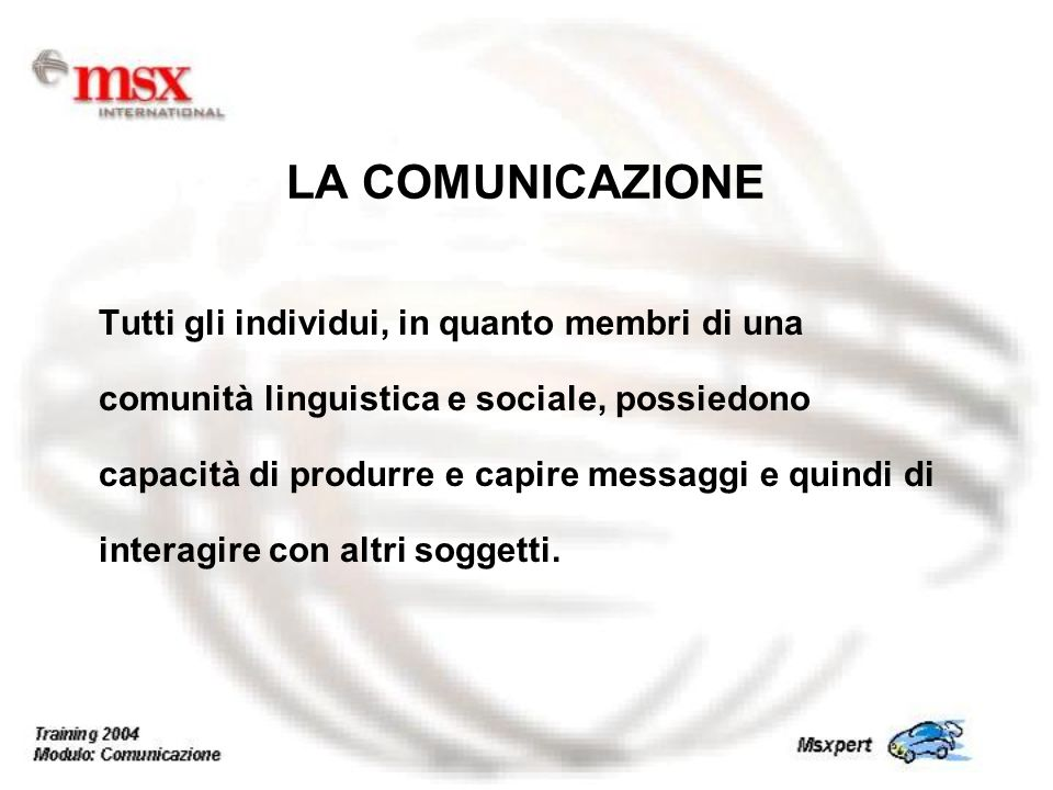 Tutti gli individui, in quanto membri di una comunità linguistica e sociale, possiedono capacità di produrre e capire messaggi e quindi di interagire con altri soggetti.