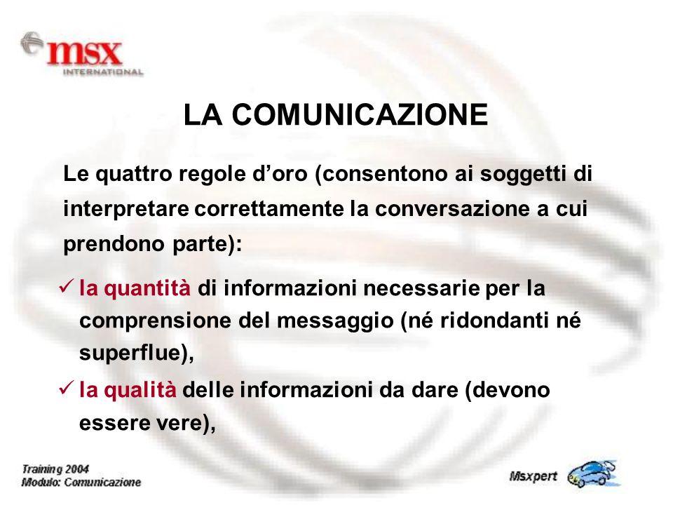 la quantità di informazioni necessarie per la comprensione del messaggio (né ridondanti né superflue), la qualità delle informazioni da dare (devono e