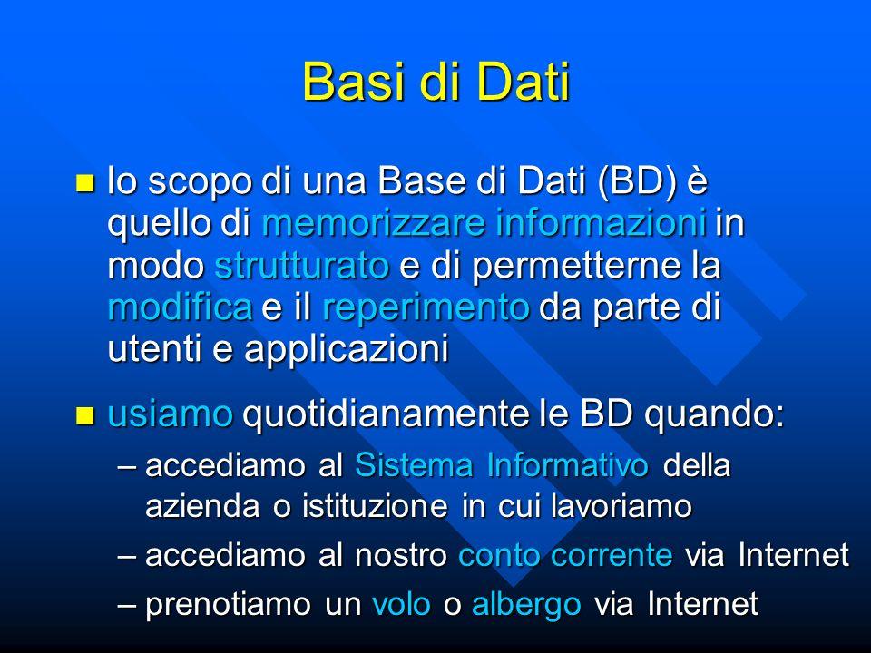 lo scopo di una Base di Dati (BD) è quello di memorizzare informazioni in modo strutturato e di permetterne la modifica e il reperimento da parte di utenti e applicazioni lo scopo di una Base di Dati (BD) è quello di memorizzare informazioni in modo strutturato e di permetterne la modifica e il reperimento da parte di utenti e applicazioni Basi di Dati usiamo quotidianamente le BD quando: usiamo quotidianamente le BD quando: –accediamo al Sistema Informativo della azienda o istituzione in cui lavoriamo –accediamo al nostro conto corrente via Internet –prenotiamo un volo o albergo via Internet