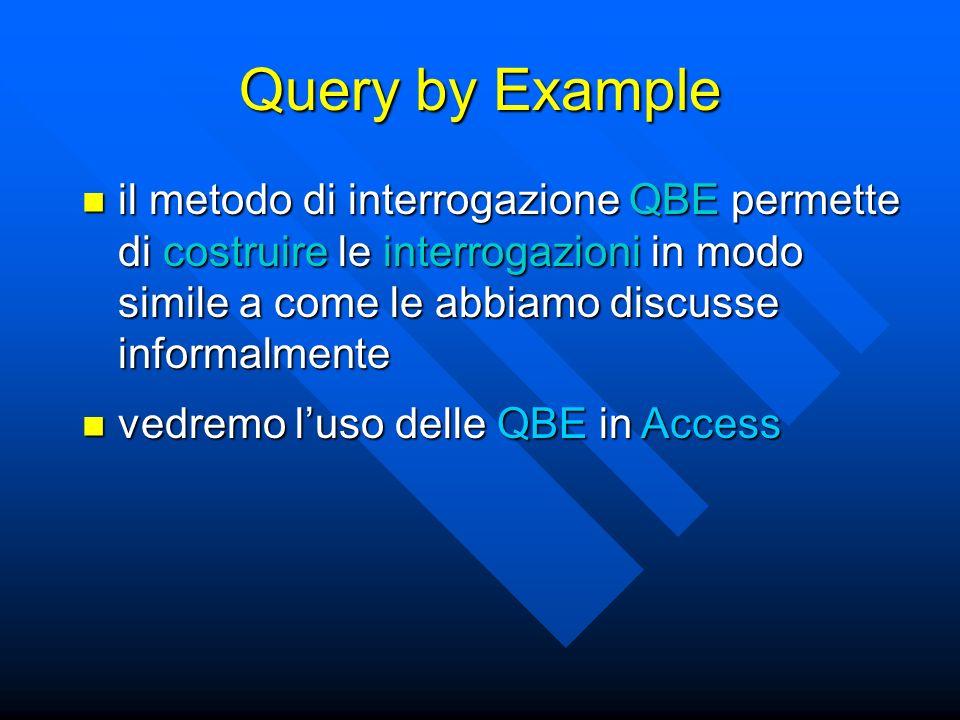 Query by Example il metodo di interrogazione QBE permette di costruire le interrogazioni in modo simile a come le abbiamo discusse informalmente il metodo di interrogazione QBE permette di costruire le interrogazioni in modo simile a come le abbiamo discusse informalmente vedremo luso delle QBE in Access vedremo luso delle QBE in Access