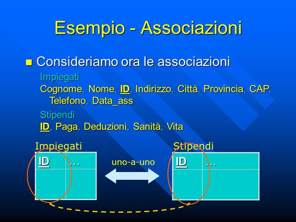 Esempio - Associazioni Consideriamo ora le associazioni Consideriamo ora le associazioni ID… ID… ImpiegatiStipendi Impiegati Cognome, Nome, ID, Indirizzo, Città, Provincia, CAP, Telefono, Data_ass Stipendi ID, Paga, Deduzioni, Sanità, Vita uno-a-uno