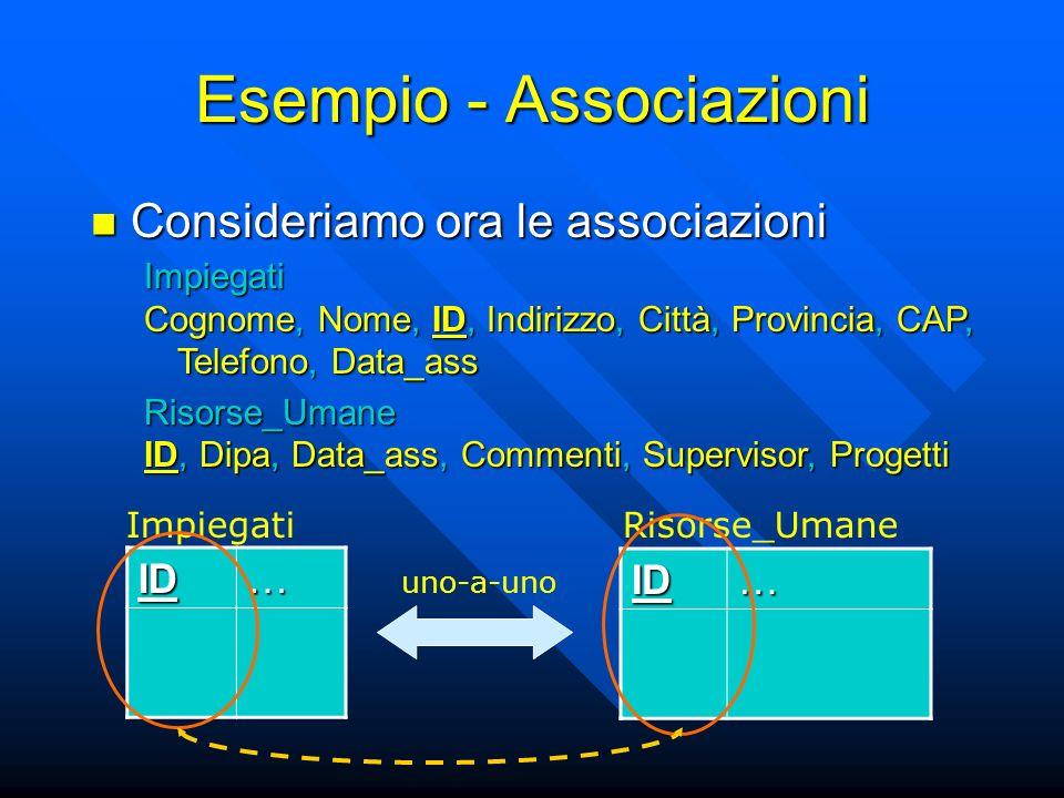 Esempio - Associazioni Consideriamo ora le associazioni Consideriamo ora le associazioni ID… ID… ImpiegatiRisorse_Umane Impiegati Cognome, Nome, ID, Indirizzo, Città, Provincia, CAP, Telefono, Data_ass Risorse_Umane ID, Dipa, Data_ass, Commenti, Supervisor, Progetti uno-a-uno