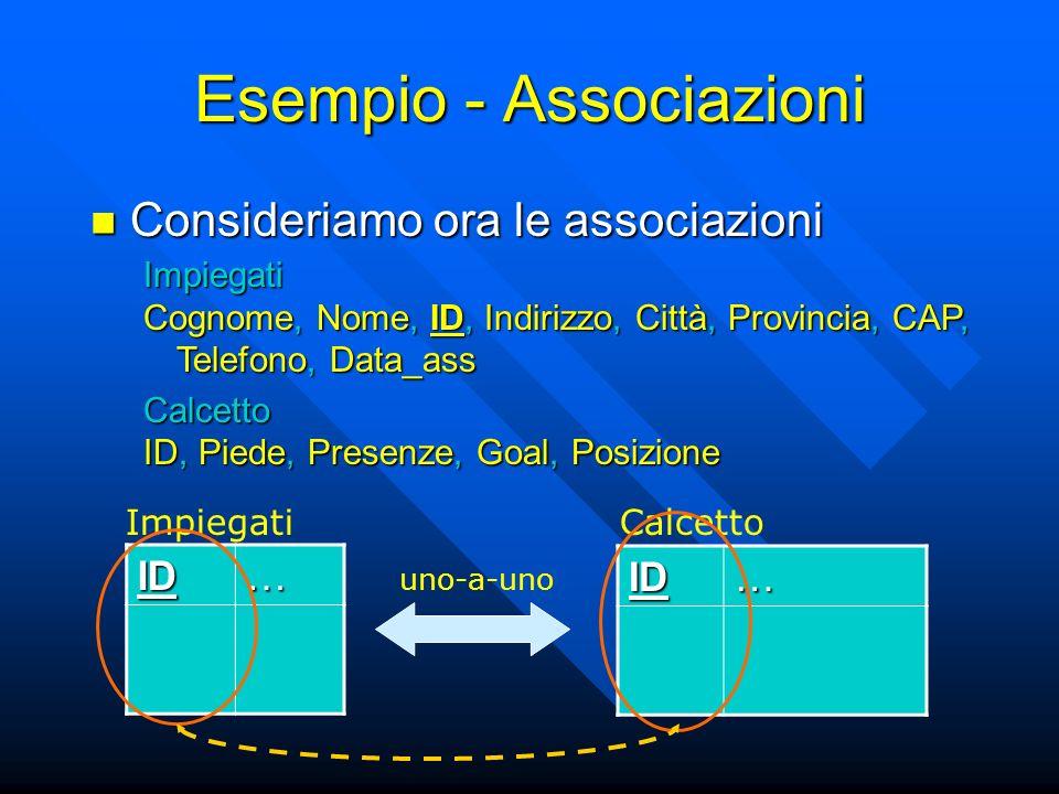 Esempio - Associazioni Consideriamo ora le associazioni Consideriamo ora le associazioni ID… ID… ImpiegatiCalcetto Impiegati Cognome, Nome, ID, Indirizzo, Città, Provincia, CAP, Telefono, Data_ass Calcetto ID, Piede, Presenze, Goal, Posizione uno-a-uno
