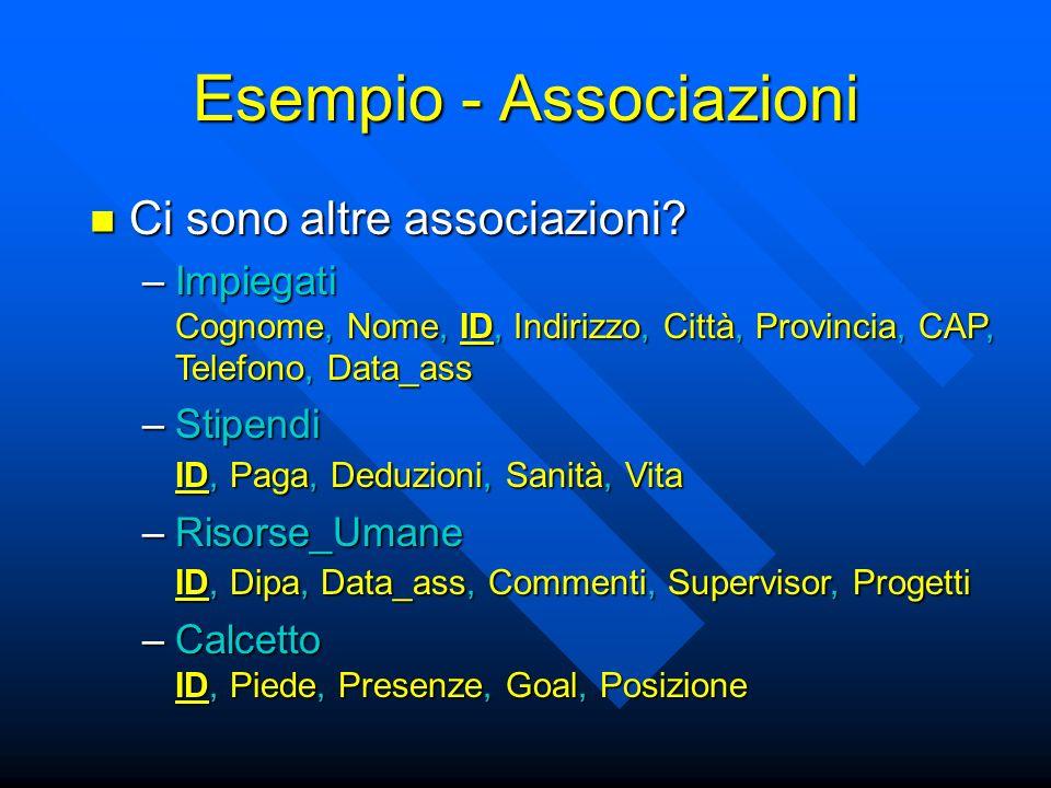 Esempio - Associazioni Ci sono altre associazioni.