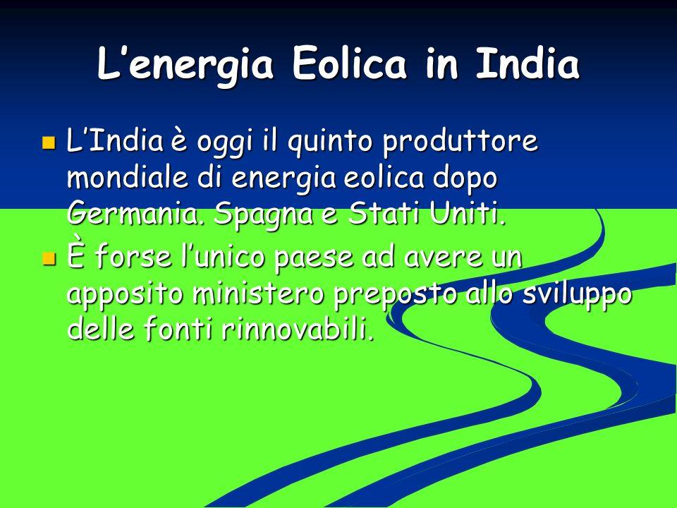 Lenergia Eolica in India LIndia è oggi il quinto produttore mondiale di energia eolica dopo Germania. Spagna e Stati Uniti. LIndia è oggi il quinto pr