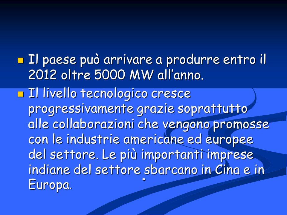 . Il paese può arrivare a produrre entro il 2012 oltre 5000 MW allanno. Il paese può arrivare a produrre entro il 2012 oltre 5000 MW allanno. Il livel