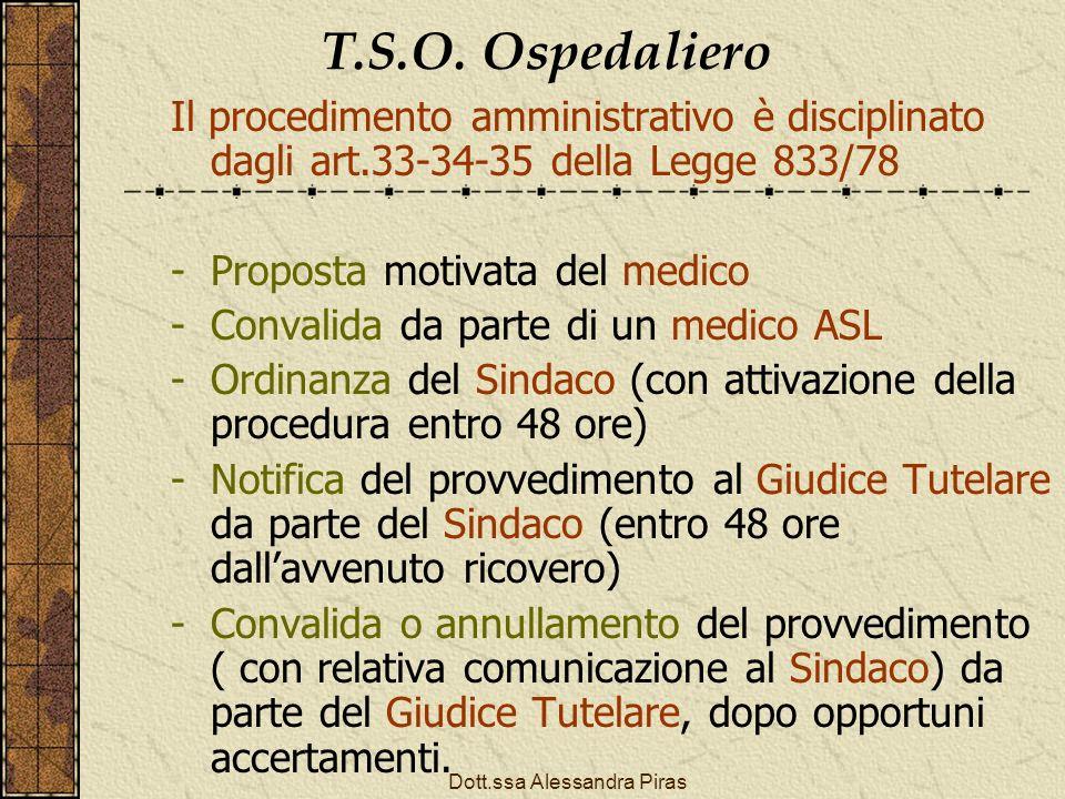 T.S.O. Ospedaliero Il procedimento amministrativo è disciplinato dagli art.33-34-35 della Legge 833/78 -Proposta motivata del medico -Convalida da par