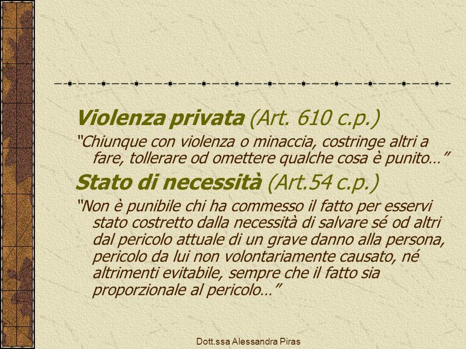 Violenza privata (Art. 610 c.p.) Chiunque con violenza o minaccia, costringe altri a fare, tollerare od omettere qualche cosa è punito… Stato di neces