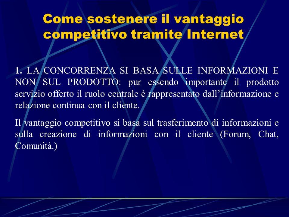 Come sostenere il vantaggio competitivo tramite Internet 1. LA CONCORRENZA SI BASA SULLE INFORMAZIONI E NON SUL PRODOTTO: pur essendo importante il pr