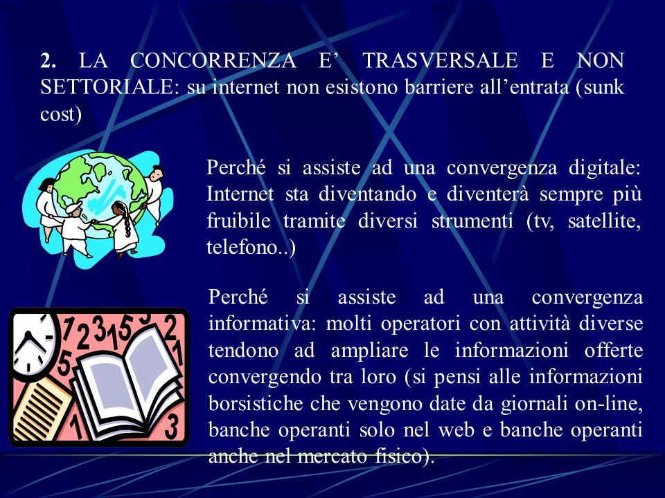 2. LA CONCORRENZA E TRASVERSALE E NON SETTORIALE: su internet non esistono barriere allentrata (sunk cost) Perché si assiste ad una convergenza digita