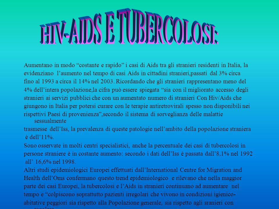 Aumentano in modo costante e rapido i casi di Aids tra gli stranieri residenti in Italia, la evidenziano laumento nel tempo di casi Aids in cittadini