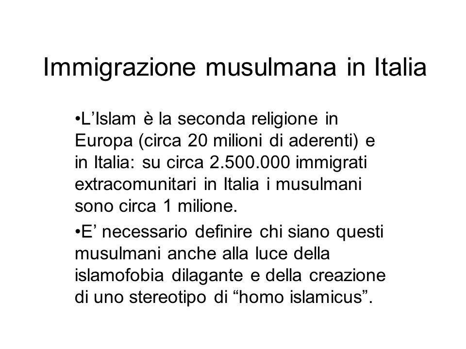 Immigrazione musulmana in Italia LIslam è la seconda religione in Europa (circa 20 milioni di aderenti) e in Italia: su circa 2.500.000 immigrati extr