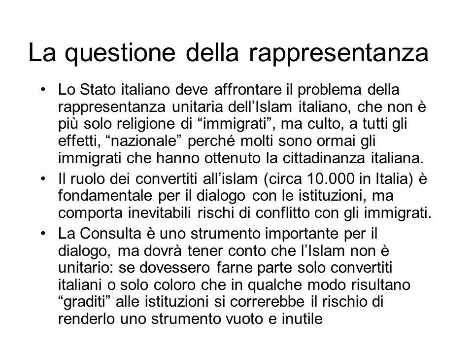 La questione della rappresentanza Lo Stato italiano deve affrontare il problema della rappresentanza unitaria dellIslam italiano, che non è più solo r