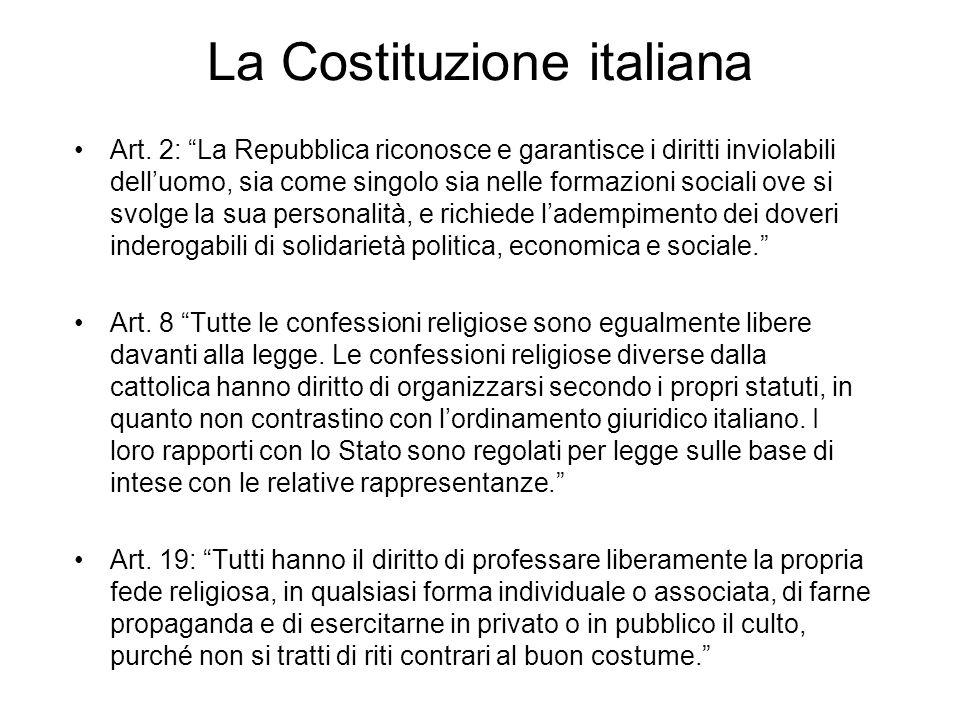 La Costituzione italiana Art. 2: La Repubblica riconosce e garantisce i diritti inviolabili delluomo, sia come singolo sia nelle formazioni sociali ov