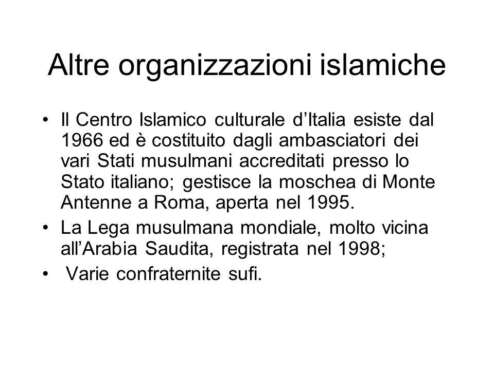 Altre organizzazioni islamiche Il Centro Islamico culturale dItalia esiste dal 1966 ed è costituito dagli ambasciatori dei vari Stati musulmani accred