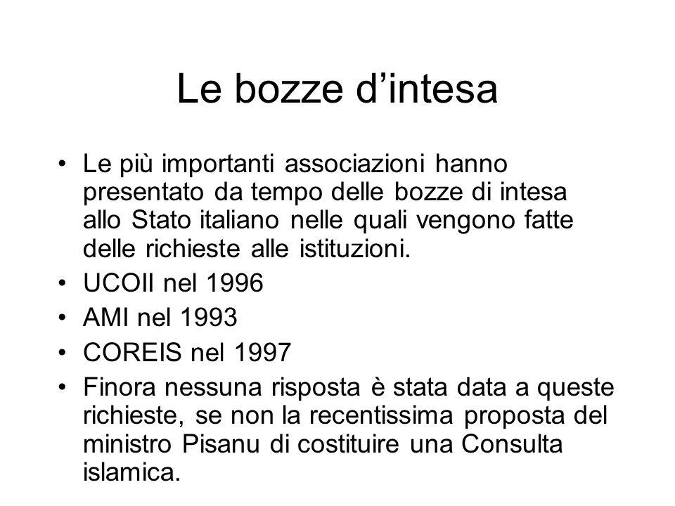 Le bozze dintesa Le più importanti associazioni hanno presentato da tempo delle bozze di intesa allo Stato italiano nelle quali vengono fatte delle ri