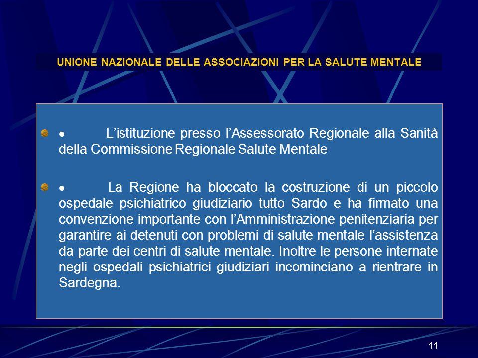 11 UNIONE NAZIONALE DELLE ASSOCIAZIONI PER LA SALUTE MENTALE Listituzione presso lAssessorato Regionale alla Sanità della Commissione Regionale Salute