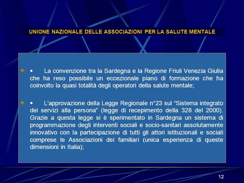 12 UNIONE NAZIONALE DELLE ASSOCIAZIONI PER LA SALUTE MENTALE La convenzione tra la Sardegna e la Regione Friuli Venezia Giulia che ha reso possibile u
