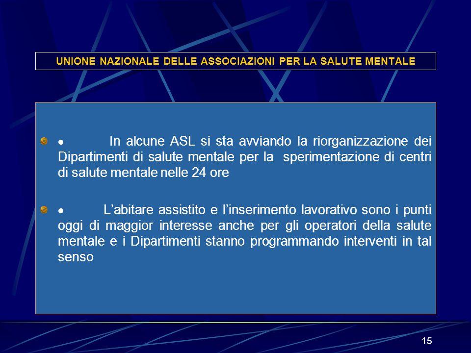 15 UNIONE NAZIONALE DELLE ASSOCIAZIONI PER LA SALUTE MENTALE In alcune ASL si sta avviando la riorganizzazione dei Dipartimenti di salute mentale per
