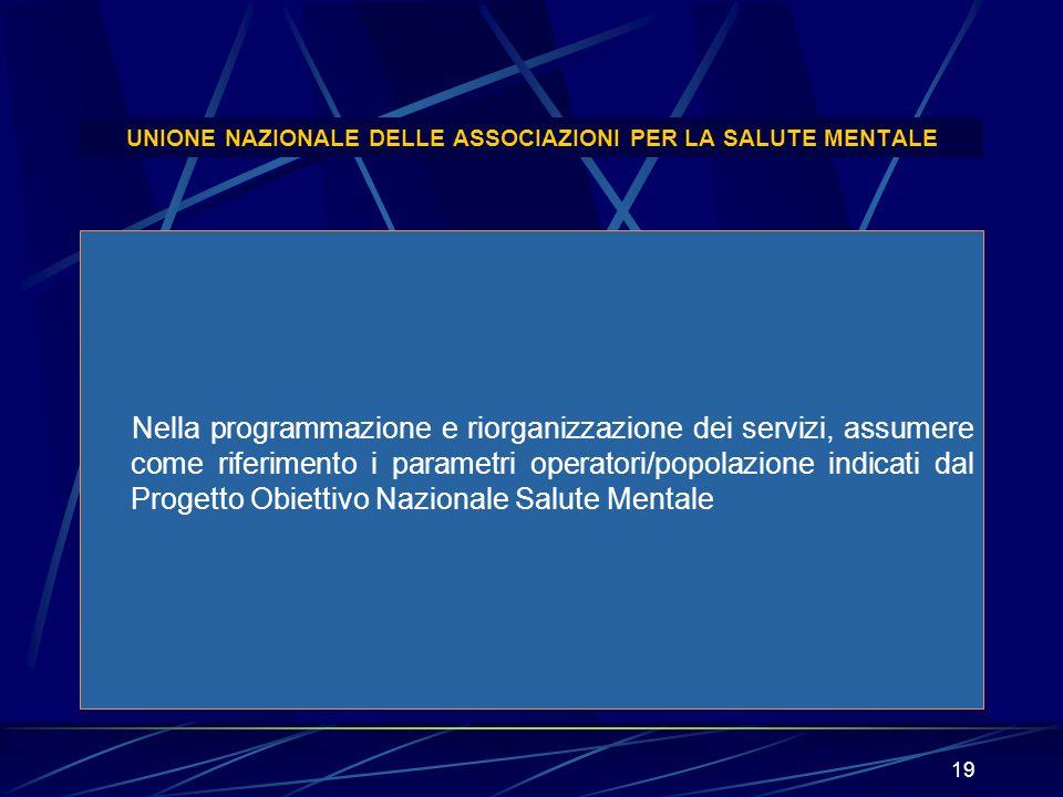19 UNIONE NAZIONALE DELLE ASSOCIAZIONI PER LA SALUTE MENTALE Nella programmazione e riorganizzazione dei servizi, assumere come riferimento i parametr