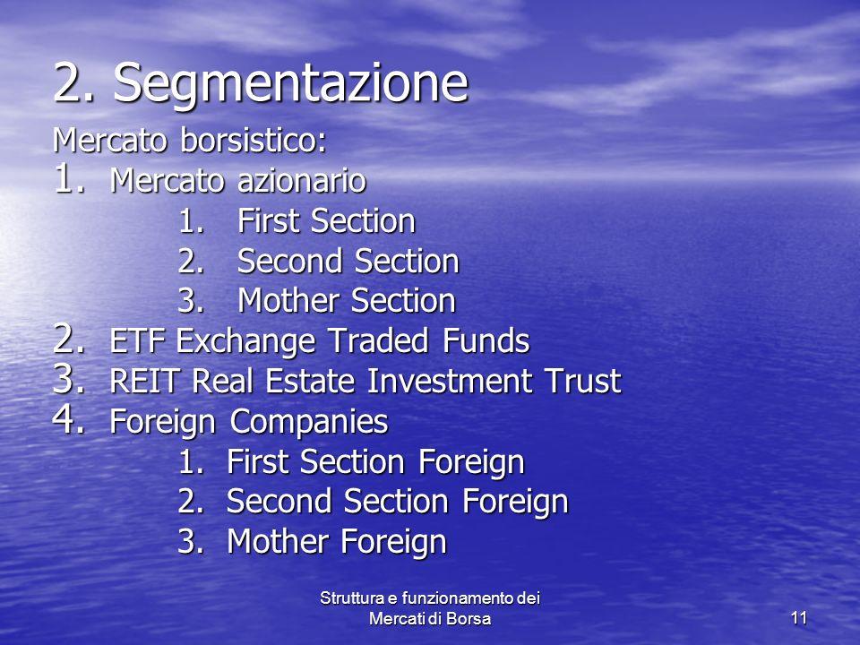 Struttura e funzionamento dei Mercati di Borsa11 2. Segmentazione Mercato borsistico: 1. Mercato azionario 1. First Section 1. First Section 2. Second