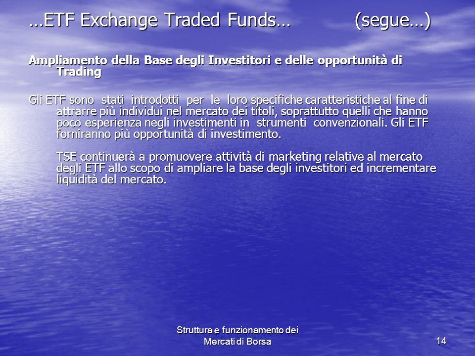 Struttura e funzionamento dei Mercati di Borsa14 …ETF Exchange Traded Funds… (segue…) Ampliamento della Base degli Investitori e delle opportunità di
