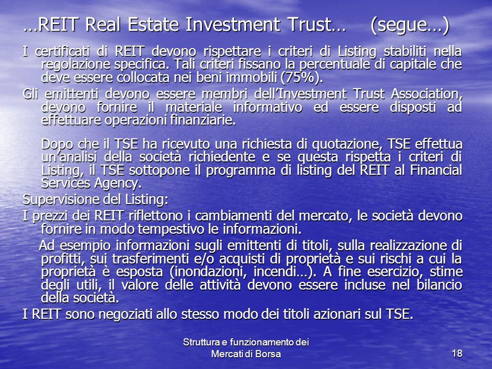 Struttura e funzionamento dei Mercati di Borsa18 …REIT Real Estate Investment Trust… (segue…) I certificati di REIT devono rispettare i criteri di Lis