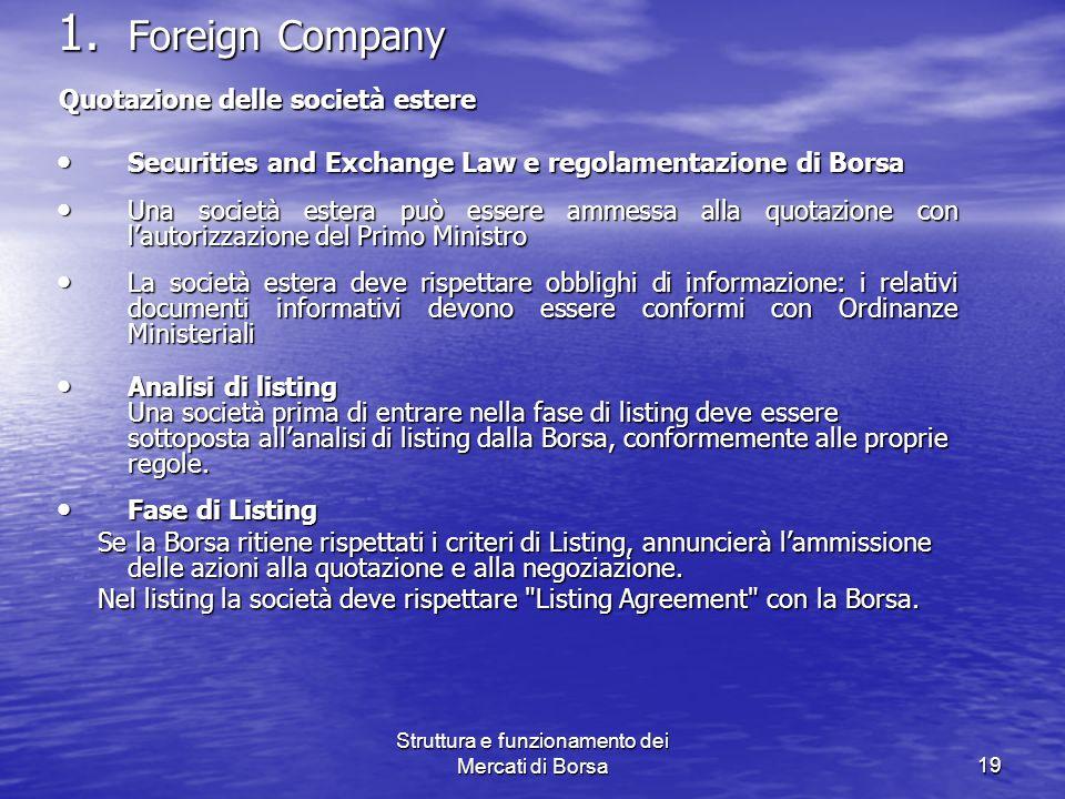 Struttura e funzionamento dei Mercati di Borsa19 1. Foreign Company Quotazione delle società estere Quotazione delle società estere Securities and Exc