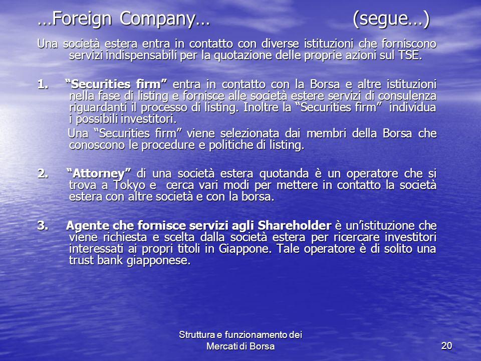Struttura e funzionamento dei Mercati di Borsa20 …Foreign Company… (segue…) Una società estera entra in contatto con diverse istituzioni che forniscon