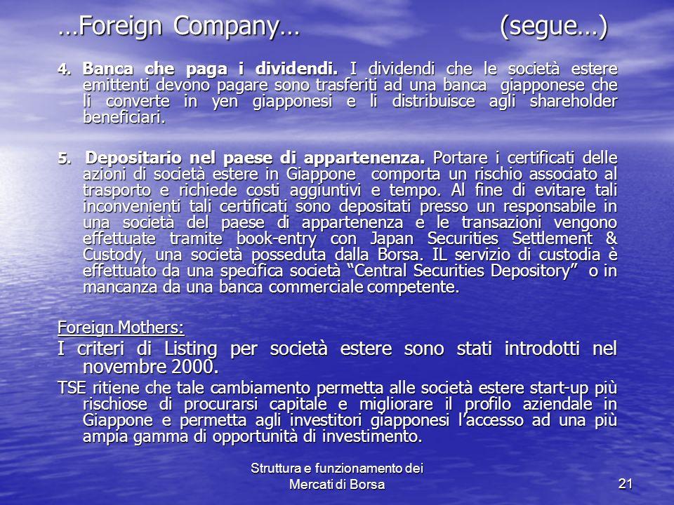 Struttura e funzionamento dei Mercati di Borsa21 …Foreign Company… (segue…) 4. Banca che paga i dividendi. I dividendi che le società estere emittenti