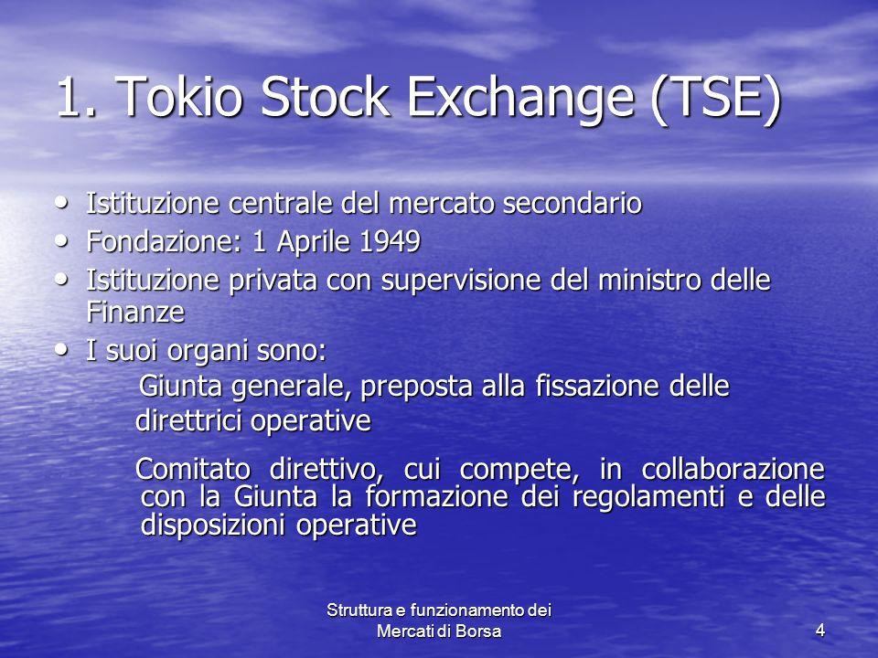 Struttura e funzionamento dei Mercati di Borsa4 1. Tokio Stock Exchange (TSE) Istituzione centrale del mercato secondario Istituzione centrale del mer