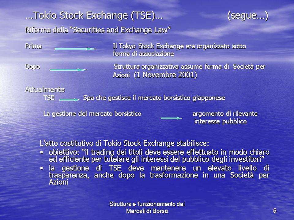 Struttura e funzionamento dei Mercati di Borsa5 …Tokio Stock Exchange (TSE)… (segue…) Riforma della Securities and Exchange Law Prima Il Tokyo Stock E