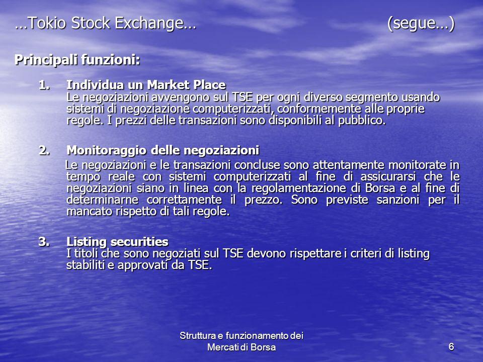 Struttura e funzionamento dei Mercati di Borsa6 …Tokio Stock Exchange… (segue…) Principali funzioni: Principali funzioni: 1.Individua un Market Place