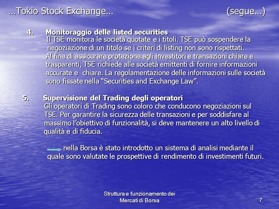Struttura e funzionamento dei Mercati di Borsa7 …Tokio Stock Exchange… (segue…) 4. Monitoraggio delle listed securities Il TSE monitora le società quo