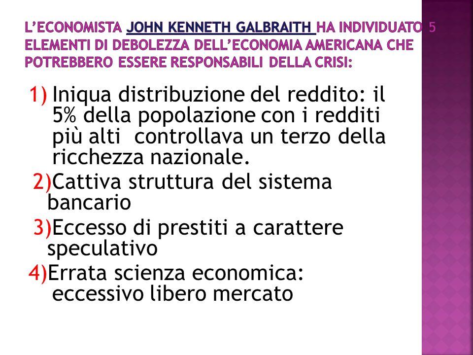 1)Iniqua distribuzione del reddito: il 5% della popolazione con i redditi più alti controllava un terzo della ricchezza nazionale. 2)Cattiva struttura