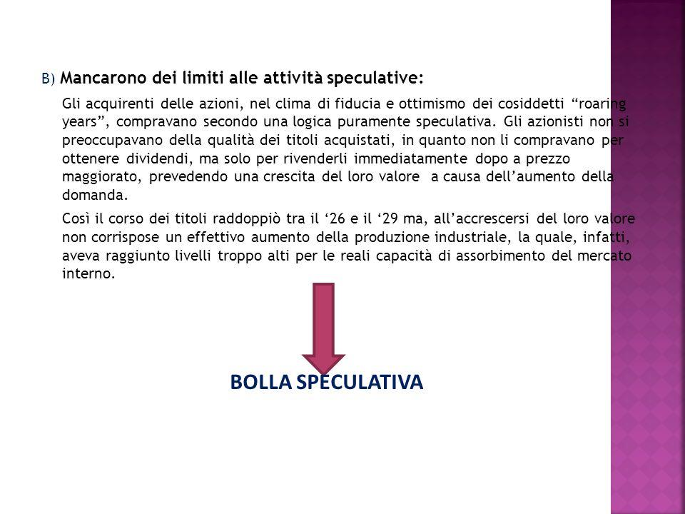 B) Mancarono dei limiti alle attività speculative: Gli acquirenti delle azioni, nel clima di fiducia e ottimismo dei cosiddetti roaring years, comprav