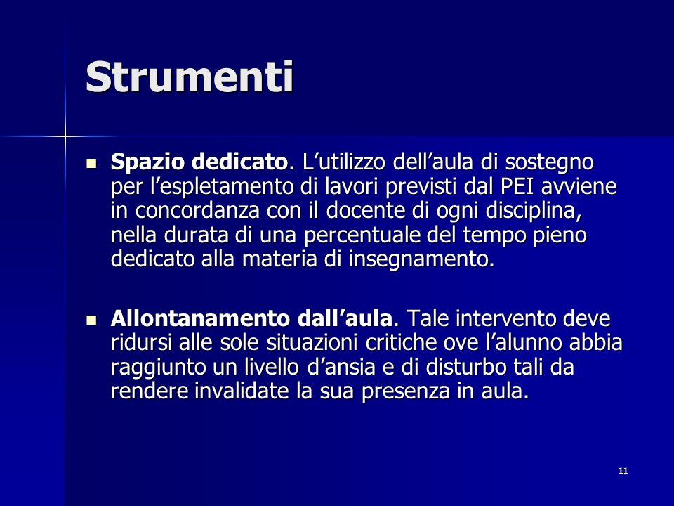 11 Strumenti Spazio dedicato.
