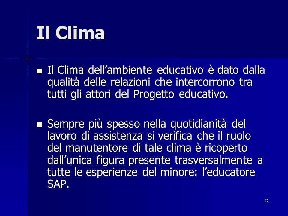 12 Il Clima Il Clima dellambiente educativo è dato dalla qualità delle relazioni che intercorrono tra tutti gli attori del Progetto educativo.