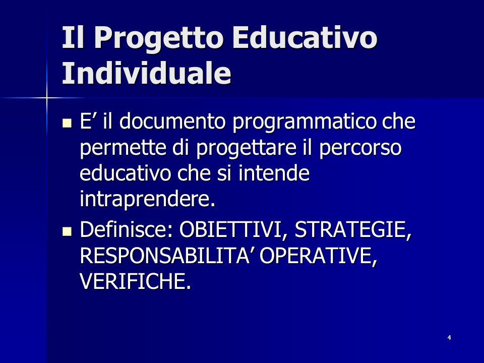 4 Il Progetto Educativo Individuale E il documento programmatico che permette di progettare il percorso educativo che si intende intraprendere.