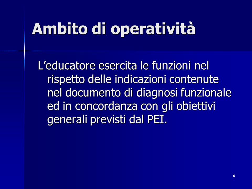 6 Ambito di operatività Leducatore esercita le funzioni nel rispetto delle indicazioni contenute nel documento di diagnosi funzionale ed in concordanza con gli obiettivi generali previsti dal PEI.