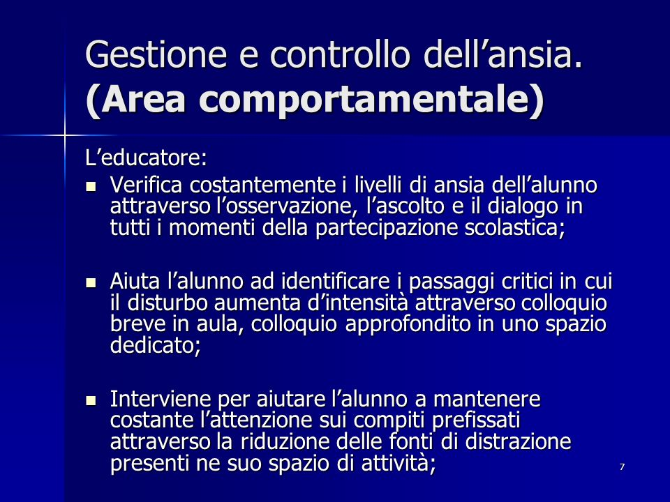 7 Gestione e controllo dellansia.