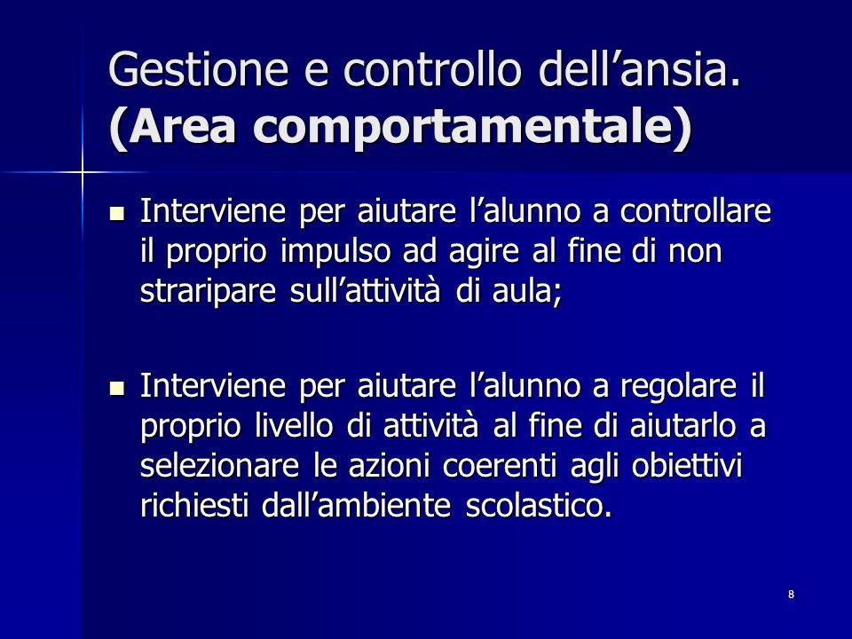 8 Gestione e controllo dellansia.
