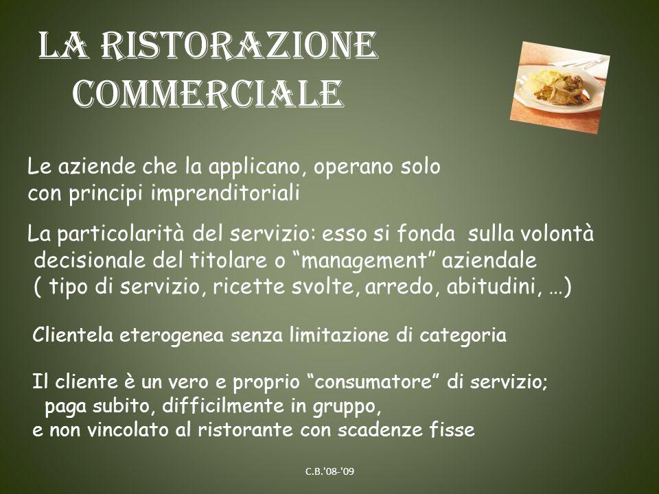 La ristorazione commerciale Si suddivide in: Ristorazione tradizionale Neo-ristorazione Ristorazione veloce/viaggiante C.B. 08- 09