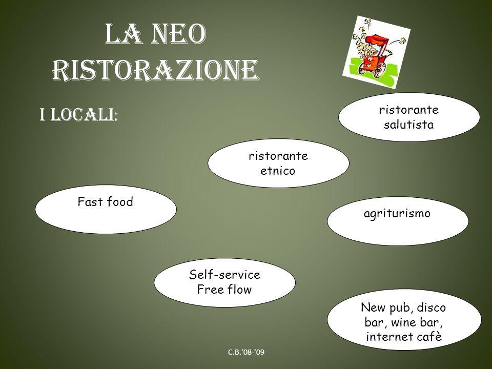 La neo ristorazione C.B.'08-'09 I LOCALI : Fast food agriturismo Self-service Free flow ristorante etnico ristorante salutista New pub, disco bar, win
